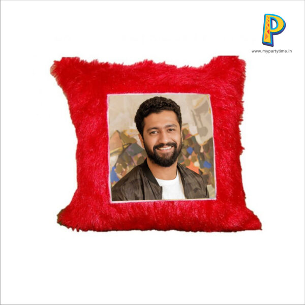 This soft square cushion in bright and attractive red color with fur has printable area for personalization. Please upload a photo of your choice to get it printed. Cushion Dimension: 16 inch x 16 inch Picture Size: 8 inch x 8 inch A very suitable gift for valentine's day or wedding anniversaries.